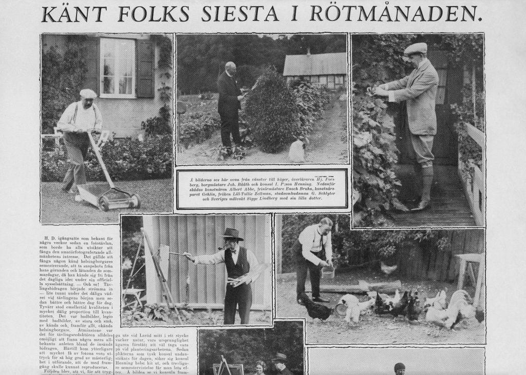 Tidningsurklipp med fotografi på Johan Bååth i sin trädgård