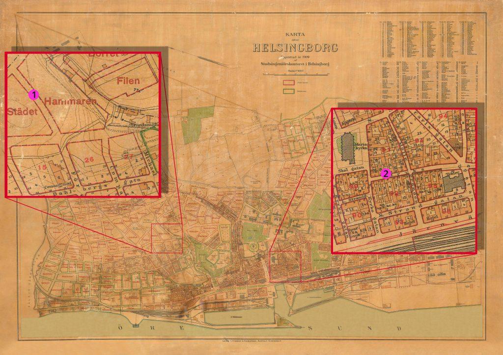 Karta över Helsingborg från 1909 som visar platserna där Dagmar Kofoed mördades och Hilda Nilsson bodde